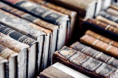 Old books background. Old manuscripts. stock photo