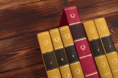 Old books on the background of a wooden. Image royalty free stock photography