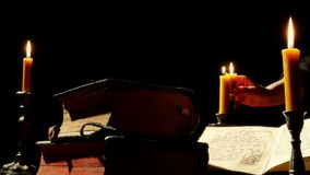 Old Books and Candlelight stock footage