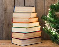 books on the wooden background royalty free stock images