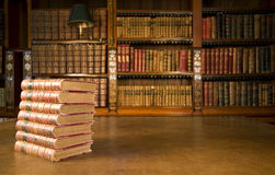 Old books in classic library royalty free stock images