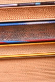 Old books, close up. Old books set close up royalty free stock photos