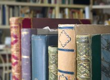 Old books, close up shot. Selective focus. Literature, reading concept Royalty Free Stock Image