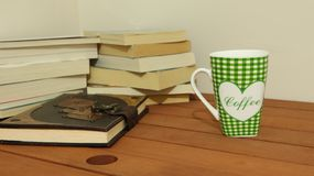 Old books and coffe stock photos