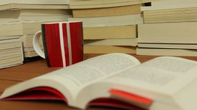 Old books and coffee royalty free stock images