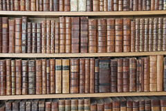 Old Books. Collection of old books on a library shelf Stock Image