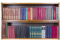 Old Books with color covers  on a shelf Stock Photography