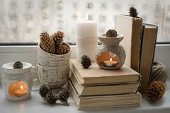 Autumn mood composion of vintage and hand made things on the win royalty free stock photography