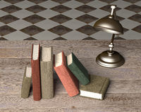 Old books. 3d rendering of some old books and a lamp on a dirty room Royalty Free Stock Photography