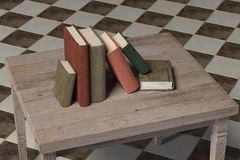 Old books. 3d rendering of some old books and a lamp on a dirty room Stock Photo