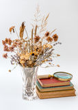 Old books are dried flowers. Royalty Free Stock Photo