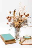 Old books are dried flowers. Royalty Free Stock Image