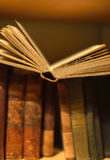 Old books. Old dusty books on a bookshelf Stock Photo