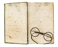 Old books with eye glasses Stock Photos