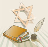 Old books a feather. And star of David Royalty Free Stock Images