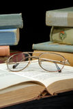 Old Books And Glasses Stock Photos