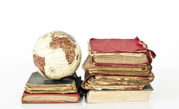 Old books and globe earth Stock Photo