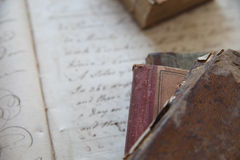 Old books with handwriting Stock Images