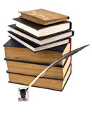 Old books, ink-pot and feather Royalty Free Stock Images