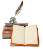 Old books and inkstand royalty free stock photos