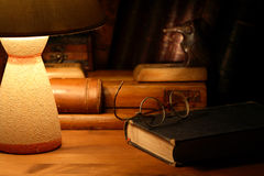 Old Books And Lamp Stock Images