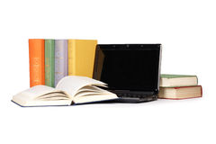 Old books & laptop Royalty Free Stock Images