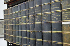 Old books in latin. A series of old books on the acts of the saints. Photo taken April 2015 Stock Photo