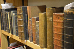 Old books in latin. A series of old books. Photo taken April 2015 Royalty Free Stock Image