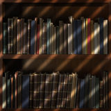 Old books in library shelf with blinds shadow Royalty Free Stock Image