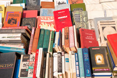 Old books. Lviv, Ukraine - July 16, 2015: Old books on a book market in Lviv Stock Images