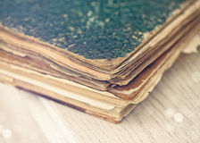 Old books of the Old binder on a white wooden surface Stock Images
