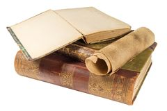 Old books and paper scroll Royalty Free Stock Photos