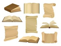 Old books and paper scrolls or parchments set vector Illustration on a white background vector illustration