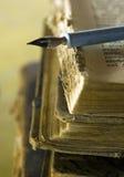 Old books and pen. Closeup Royalty Free Stock Photos