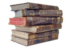 Old books. Pile of old books on a white background, isolated royalty free stock images