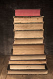 Old Books Pile On Wood Stock Images