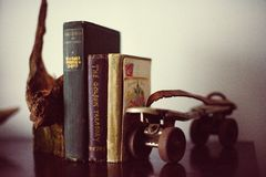 Old Books Roller Skate Wood 2 Royalty Free Stock Photos
