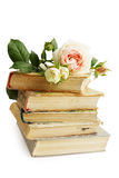 Old books and rose Royalty Free Stock Photo