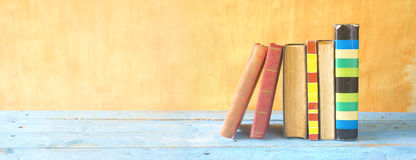 Old books in a row. Panorama, free copy space Stock Photos
