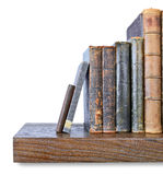 Old books. Row of old books on a wooden shelf Royalty Free Stock Photography