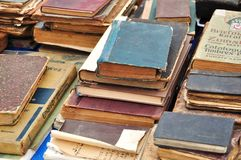 Old books for sale. At antique market royalty free stock photography