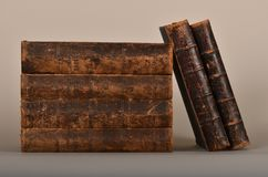 Old books in shabby bindings royalty free stock photography