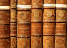 Old books - Shakespeare. You can see some over hundred years old books. Shakepeare Society Royalty Free Stock Image