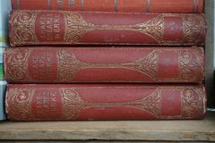 Old books Shakespeare red staple. Old books Shakespeare staple royalty free stock photos