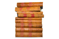 Old books shelf isolated on white background Royalty Free Stock Image