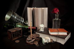 Old books and skulls Stock Image