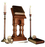 Old books, skulls and candles Stock Photos