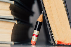 Old Books and Small Perfect Pencil Royalty Free Stock Photo