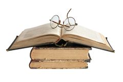 Old Books And Spectacles Stock Photography