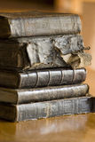 Old books stack stock photography
